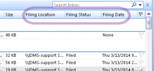 Filing Status columns for Location, Status, and Date