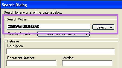 WorkSite's default search scope | FileSite close-up